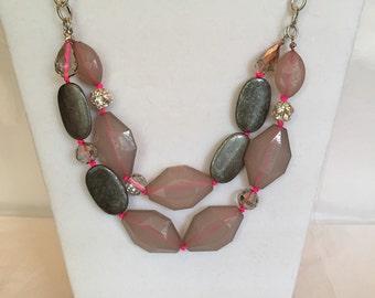 Neon Sparkle Necklace/Multi Strand/Bead Necklace