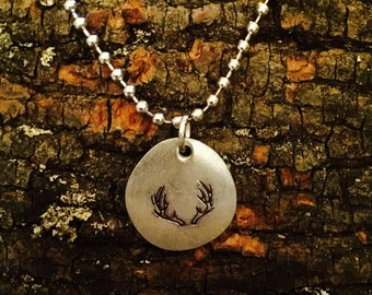 Antlers Stamped Charm Necklace