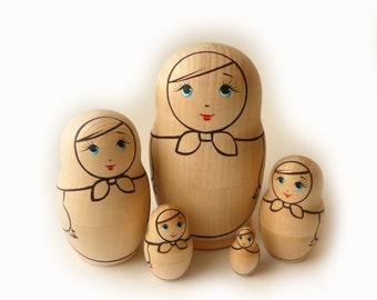 Blank Unpainted Matryoshka Nesting Russian Wooden Doll 5-piece