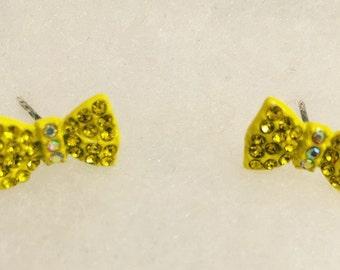 Yellow Bow Rhinestone Earrings