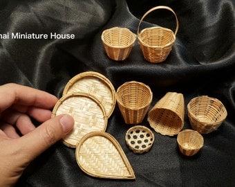 10 pieces Vintage Basketwork Wicker Dollhouse Miniature