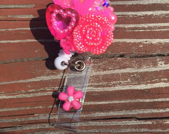 Hot Pink Double C Badge ID Holder