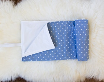 Roll Up Diaper Changing Pad - Blue with White Dots