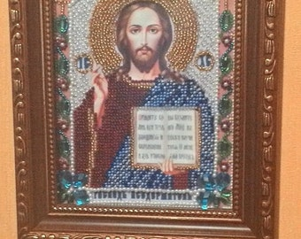 """Hand made .Embroidered with Beads picture. Beaded icon"""" Иисус Христос"""""""