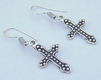 Cross earring | Oxidized silver earring | Silver plated earring | Dangle earrings | Indian fashion earring | Travel jewelry earrings | E44