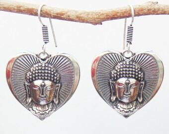Buddha Earrings | Tribal earring | Heart Shape earring | Silver Plated Oxidized Brass earrings | Ethnic earrings | Indian gift earring | E51