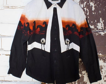 Womens vintage western shirt with conchos 1980's by Roper Border Size L
