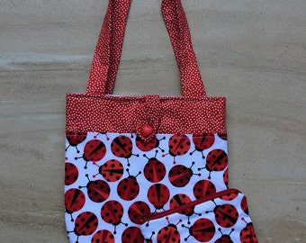 Red ladybugs handbag and purse
