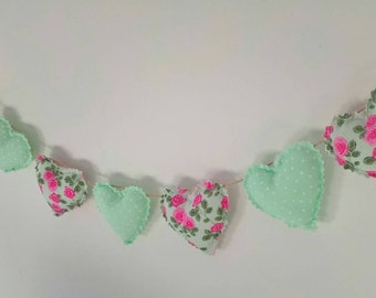 Hand Made Shabby Chic 7 Heart fabric Garland Bunting Green Floral Rose & Spots