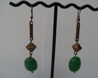 Vintage Jade Drop Earrings 1970's