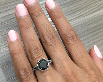 Natural Round Black Diamond Engagement Ring made in 18k BLACK GOLD