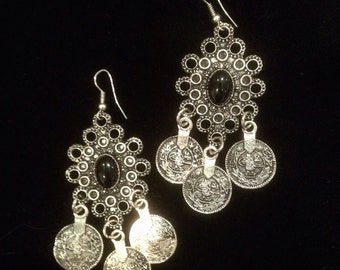 Gypsy coin earrings (bohemian, boho, ethnic)