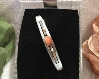 "Lovely Antique Vintage ART DECO Solid Silver Brooch-With Central Mounted ""Pink"" CORAL-Beautiful Condition"