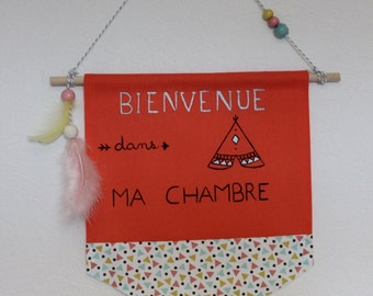 banner, Pennant, child wall decoration, Indian baby, feathers, tipi