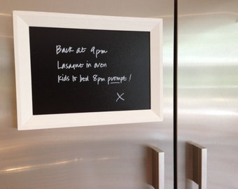 Magnetic framed blackboard // White frame // Choose your own colour // A4  A5 // Kitchen or office notice board // Chalk pen optional extra