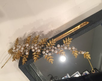 Gold Leaf with Pearl Headband