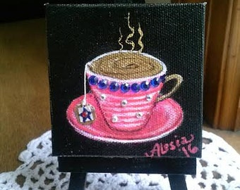 made in the USA tiny teacup painting