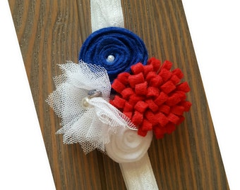 Handmade felt flower baby headband