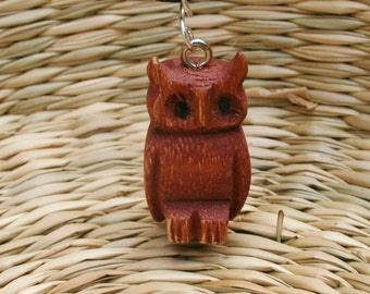 Wooden Owl Necklace With Cotton Wax Cord