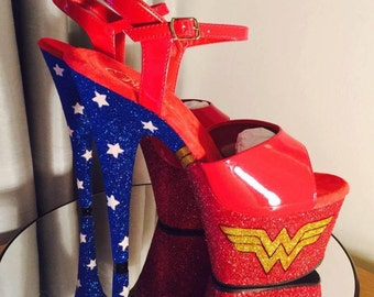 Wonder Woman customised pleasers pole dance shoes
