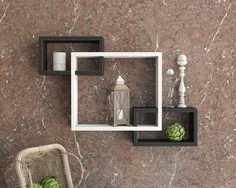 DecorNation Wall Mounted Shelf Set of 3 Floating Intersecting Storage Display Wall Shelves - Black & White