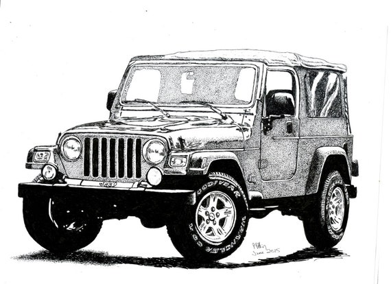 Line Drawing Jeep : Pen ink drawing a jeep wrangler