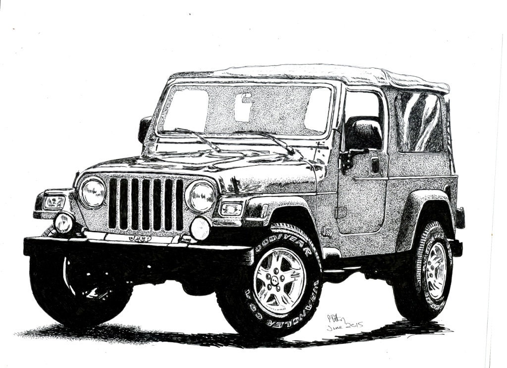 Cj Scribble Drawing : Pen ink drawing a jeep wrangler