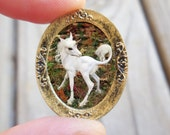 Fairy Unicorn Wall Hanging, Miniature Oval Embellished Golden Frame with Image of Baby Unicorn, Fairy Garden Accessories and Wall Hangings