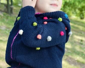 Blue Cardigan. 3 years. Girl sweater. Handmade Cardigan, Cardigan with dots, knitwear