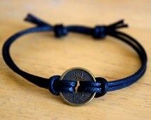 Chinese Lucky Coin Charm Bracelet, Waxed Cotton Bracelet, Adjustable, Wealth, Good Fortune, Unisex, Black