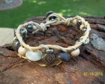 Woven Leather and Bead Bracelet