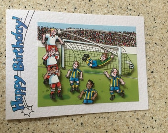"Handmade Birthday card 3D decoupage humourous male football footballer player 7"" x 5"" comical amusing funny"