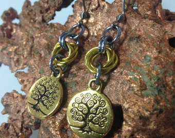 Tree of Life Chain Maille Earrings