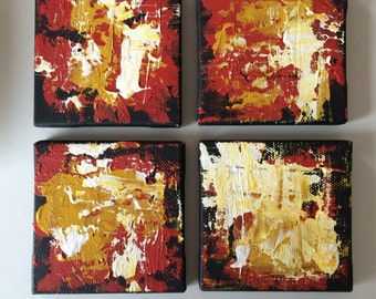 "Original Acrylic Paunting 3"" x 3"" set of 4"