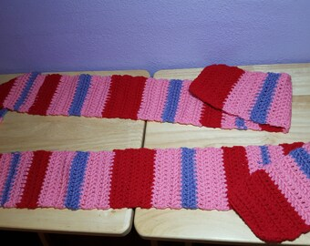Purple/Red/Pink Striped Scarf