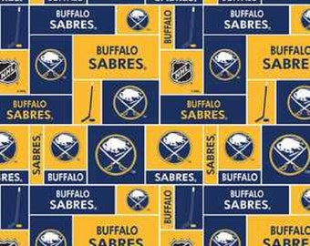 NHL BUFFALO SABRES Hockey 100% cotton fabric material you choose size liscensed for Crafts, Quilts, clothing and Home Decor