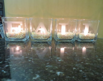 Fall candle votives - etched glass
