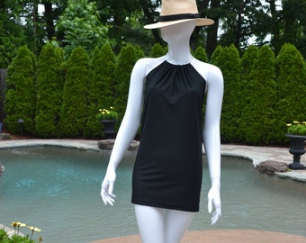 Black swimsuit cover up. Swim dress can be worn in and out of the water.