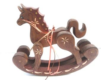 Vintage Handmade  Wood Rocking Horse, Toy Horse, Nursery Decor