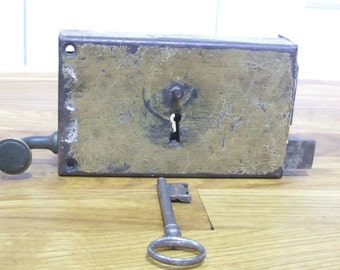 Working Salvaged French Vintage Door Lock and Key
