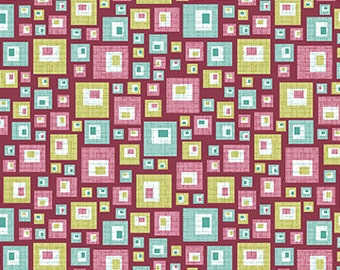 Pink and Teal Squares Fabric Sunflowers Soul Blossom by Cherry Guidry for Benartex Quilting Cotton Fabric, 1/2 Yard Increments
