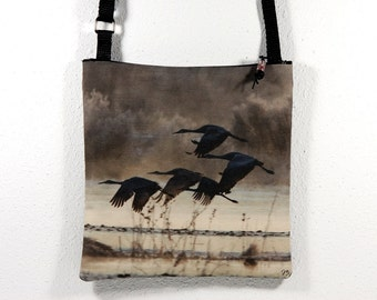 Linen Cotton Purse with Bosque del Apache Flying Cranes Brown Photo Print