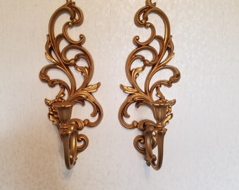 Syroco wall sconces - pair - in gilt gold - never used!