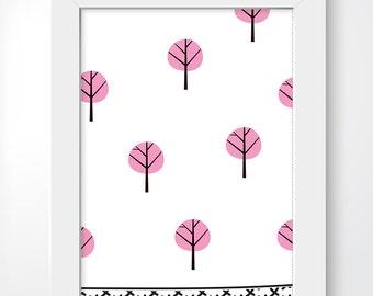 Trees - black, pink