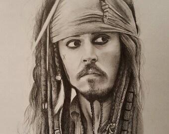 Original pencil drawing of Jack Sparrow