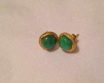 Gold Earrings with Jadeite jade