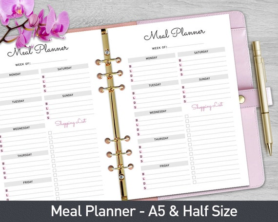 A5 Meal Planner Printable Weekly Meal Planner by ...