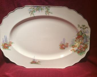 "Myott Cottage and Flower Pattern Serving Platter 14.5"" x 10.25"""