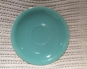 Pyrex JAJ Weardale Duck Egg Blue 1960's with Gold Edges Saucer