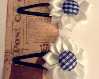 2pc pretty flower and covered button snap clips